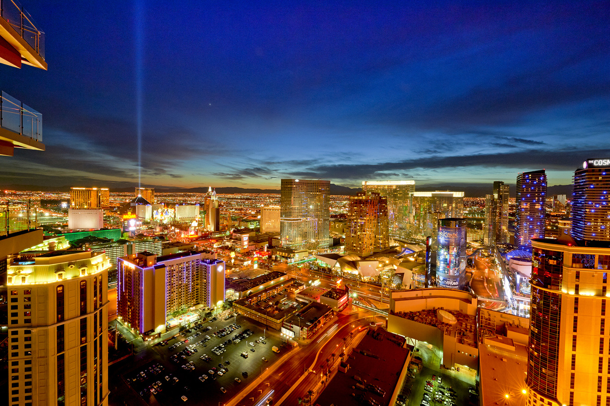 Las Vegas Skyline at night at Dusk